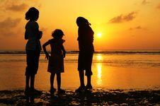 Free Girls At Sunset Royalty Free Stock Image - 2340896