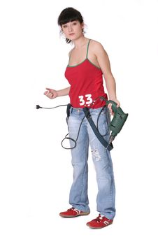 Tired Woman With A Drill Stock Images