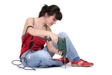 Free Woman Working With A Drill Stock Images - 2344664