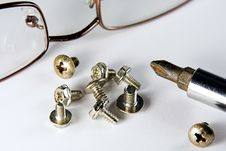 Screws And Glasses Royalty Free Stock Photo