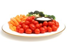 Free Plate Of Veggies On White Stock Photography - 2349622