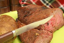 Free Steak Baked Potato & Napkin Stock Photos - 2349843