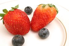 Free Two Strawberries & Blueberries Royalty Free Stock Image - 2349896