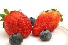 Free Two Strawberries & Blueberries Royalty Free Stock Photo - 2349975