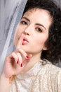 Free Brunette Model In Lace Blouse Whispering Royalty Free Stock Images - 23409039