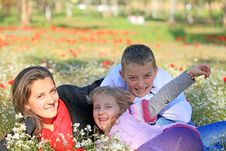 Free Mom With Son And Daughter In The Park Fooled Royalty Free Stock Photo - 23401065