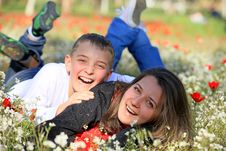 Free Mother And Son Fool Around In The Park Royalty Free Stock Photography - 23401117