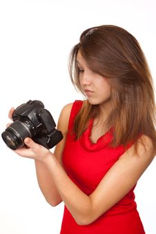 The Girl With The Camera Royalty Free Stock Image