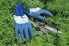 Free Gloves And Garden Shovel And Rake Stock Image - 23409781