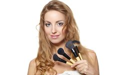 Free Beautiful Woman With Makeup Brushes Royalty Free Stock Images - 23410789