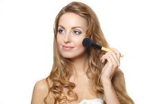 Free Portrait Of Young Beautiful Woman Applying Makeup Stock Photo - 23410790