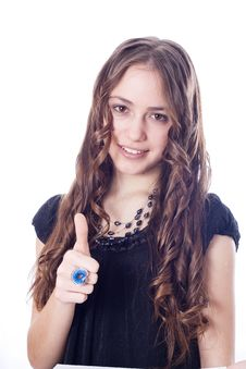 Girl Showing OK Hand Sign Smiling Happy Royalty Free Stock Image