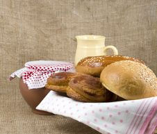 Free Panary Rolls Lie On A Napkin In A Basket Royalty Free Stock Image - 23412026