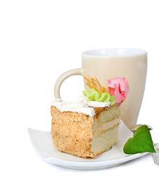 Cake On A Saucer With A Green Sheet Stock Photos