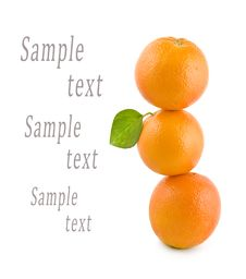 Three Oranges Stand On Each Other Stock Image