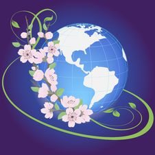 Free Vector Planet With Flowers Royalty Free Stock Photography - 23413637