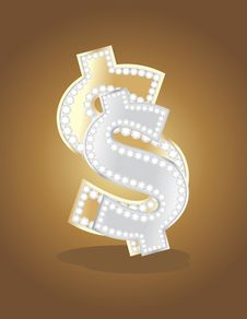 Free Shining Golden And Silver Dollar Sign Royalty Free Stock Photo - 23426155