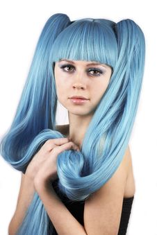 Free Portrait Of Pretty Woman In Blue Wig Stock Photos - 23429513
