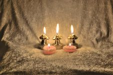 Candles On A Fabric Royalty Free Stock Images