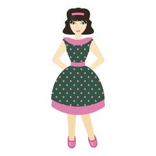 Free Beautiful Girl In Retro Style Dress Stock Images - 23433434