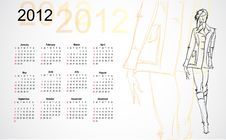 Calendar 2012. Sketch Of The Girl.