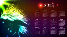 Calendar 2012, The Neon Naked Girl. Stock Photo