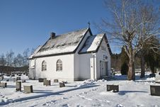 Chapel In Winter. Stock Photos