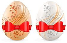 Free Decorated Eggs With Ribbon On White Royalty Free Stock Photos - 23437798