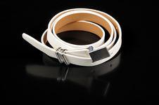 Free Women S White Leather Belt On Black Background Royalty Free Stock Image - 23439146