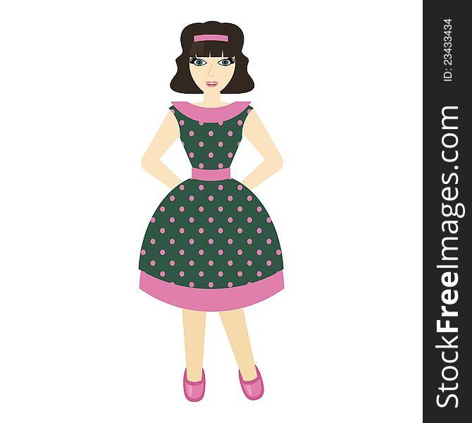 Beautiful girl in retro style dress