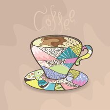 Free Colorful Cup Of Coffee Royalty Free Stock Image - 23444136