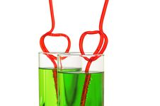 Free Two Glasses With Heart Straws Royalty Free Stock Images - 23449219