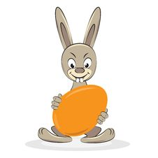 Cartoon Funny Easter Rabbit With Egg Royalty Free Stock Image