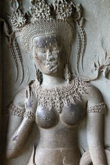 Free Apsara Carving On Wall Of Angkor Wat Stock Photo - 23453260