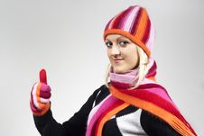 Free Beautiful Girl In A Hat And Gloves Shows A Well- Royalty Free Stock Photos - 23454568