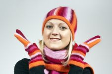 Free Girl In A Hat And Gloves Royalty Free Stock Photography - 23454597
