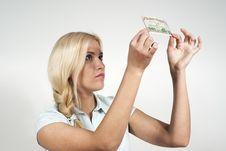 Free Beautiful Girl Checks Money Stock Images - 23454804