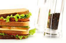 Free Classical BLT Club Sandwich With Saltcellar And Pe Royalty Free Stock Photo - 23458975