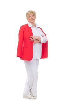 Free Portrait Of A Smiling Adult Woman In A Red Jacket Stock Photo - 23461110