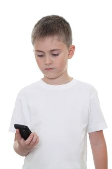 Free Boy With Mobile Phone Royalty Free Stock Photography - 23469277