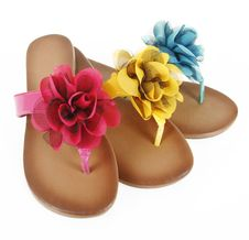 Free Colored Flip-flops With Flowers Royalty Free Stock Image - 23470016