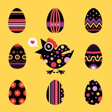 Free Easter Chicken And Eggs Card - Black Stock Image - 23470381