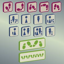 Different Icons Collection Stock Photos