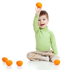 Free Smiling Child With Healthy Food Fruits Stock Image - 23471751