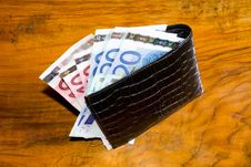 Free Euros In  Wallet, On Vintage Brown Backgroun Stock Photography - 23478042