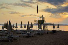 Evening Sunset On Beach Stock Photo