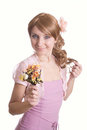 Free Girl With A Bouquet Of Flowers Royalty Free Stock Images - 23482909