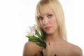 Free Young Blond Woman Holding Flowers Royalty Free Stock Photography - 23483597