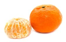 Mandarin Tangerine Isolated On A White Royalty Free Stock Photos