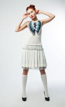 Free Elegant Asian Woman In Fashion Retro Dress Posing Royalty Free Stock Images - 23484319